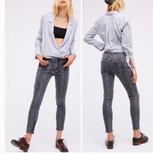 Free People Lennon Plaid Skinny Jeans